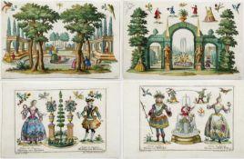Engelbrecht, Martin. 1684 - 1756 Landschaften, Gärten und Kostüme. 17 kol. Radierungen. Bis 15 x 23