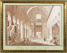 Uggeri, Angelo. 1754 - 1837. Zugeschrieben Basilique de S. Marie in Cosmedin. Braun lavierte Tuschfe