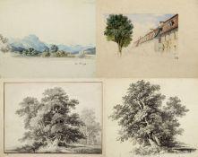 Kunkler, Adolf. 1792 - Gnadenberg bei Bunzlau - 1866 Bäume. Straße. 1 Tuschpinselzeichn. 2 aquarelli