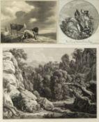 Reinhart, Johann Christian u.a. Die Versuchung Jesu. Allegorie der Wissenschaft. Kühe. 2 Radierungen