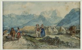 Monogrammist F.B. Heuernte in den Voralpen. Aquarell über Bleistift. 9,5 x 15,5 cm.