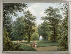 Hammer, Christian Gottlob. 1779 - Dresden - 1864 Park in Dresden mit Blick auf den Lilienstein (?).