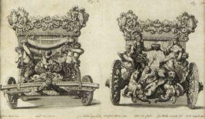 Lenardi Vorder- und Rückseite einer Kutsche. Radierung. 16 x 29 cm.