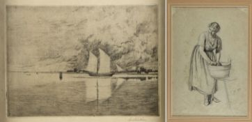 Monogrammist A.S. Schilcher, Hans Junge Wäscherin. Zweimastschoner vor einer Küste. 1 Bleistiftzeich