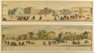 Deutsch, 19. Jh. Münchener Ansichten. 2 kol. Lithographien. Bis 13 x 56,5 cm.
