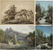 Kunkler, Adolf. 1792 - Gnadenberg bei Bunzlau - 1866 Bauernhaus. Brücke über einen Fluss in den Berg