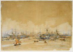 Gritsenko, Nikolai. 1856 Novokuznetsk - Menton 1900 Kriegsschiffe werden in einem französischen Hafe