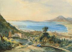 Roskilly, Eduardo Bucht von Neapel. Aquarell. Sign. und dat. 1835. 25 x 32 cm.