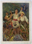 Schicktanz, Karl Kampf im Urwald. Aquarell. 21 x 15 cm. Verso mit dem Nachlassstempel.