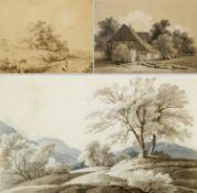 Kunkler, Adolf. 1792 - Gnadenberg bei Bunzlau - 1866 Landschaften. Bauernkate. Personenstudien. 5 Bl
