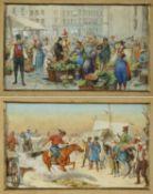 Deutsch, 19. Jh. Ungarischer Pferdemarkt. Blumenmarkt in Holland. 2 Aquarelle. 5 x 10 cm.