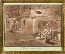 Uggeri, Angelo. 1754 - 1837. Zugeschrieben Prison Mamertin. Braun lavierte Tuschfederzeichn. Bet. 18