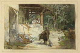 Burger, Anton. 1824 Frankfurt/Main - Kronberg 1905 Drehorgelmann an einem Häuschen im Wald. Aquarell