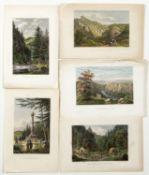 Ansichten Sammlung von Stahlstichen. Bis 12 x 18 cm.