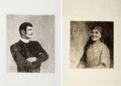 Stuck, Franz von. 1863 Tettenweis - München 1928 Meine Mutter. Portrait Franz von Stuck. 2 Radierung