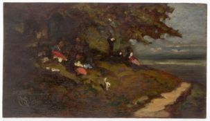 Spitzweg, Carl. 1808 - München - 1885 Personen unter Bäumen beim Picknick. Öl/Holz. Bez. unten links