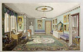Monogrammist W.R. Interieur eines Schlosses. Aquarell und Tuschzeichn. Monogr. 17 x 28 cm.