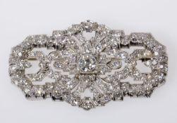 Art déco-Diamant-Brosche Wohl Platin