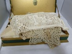 A quantity of Maltese lace table linen, traycloth, coaster cloths, napkins; crochet work