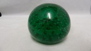 A Whitefriars 9308 controlled bubble paperweight, in meadow green, 8 cm diam approx
