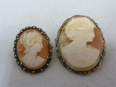 Two cameo brooches in marcasite set mounts, oval, 4cm max (2)