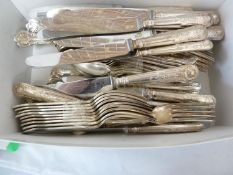 A Slack and Barlow, Sheffield silver plated cutlery service, of Kings pattern, comprising: 12 dinner
