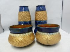 A pair of Royal Doulton stoneware vases, of gourd form, banded in gold with incised swirls between