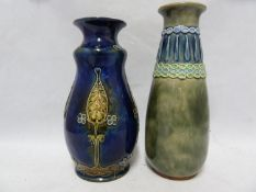 Two Royal Doulton Stoneware vases, one of gourd form with flared neck, tubelined with Art Nouveau