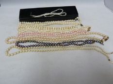 WITHDRAWN - Various pearl necklaces - including a freshwater necklet of small sized pearls