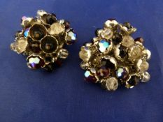 Butler & Wilson - a pair of early millefleur clip on earrings, circular base with wired metal floral