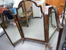 A folding vanity looking glass, in Georgian style, the central panel with scallop shell finial