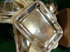 WITHDRAWN - A quantity of silver plate, including three vegetable serving tureens and covers with