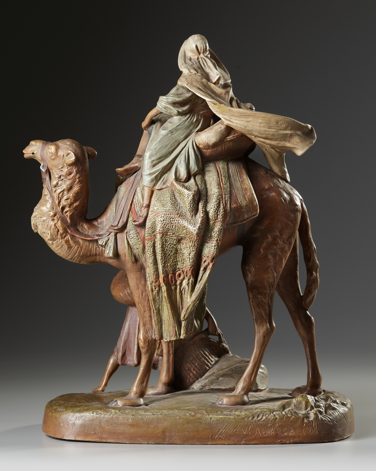 AN ORIENTALIST TERRACOTTA GROUP, LATE 19TH CENTURY - Image 2 of 6