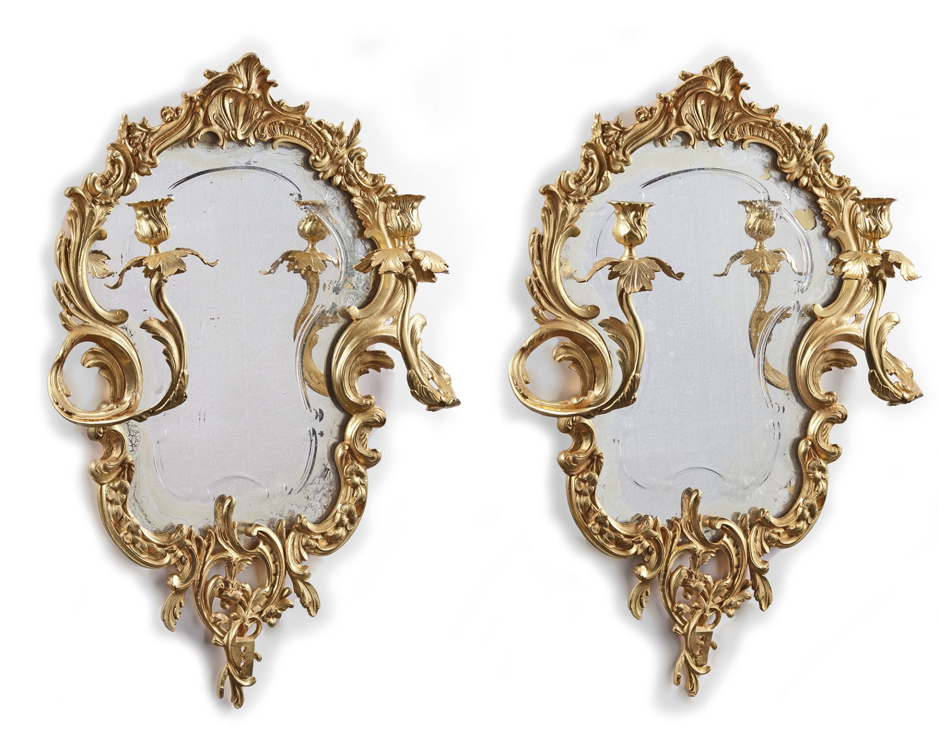 A PAIR OF FRENCH MIRROR-SCONCES, 19TH CENTURY