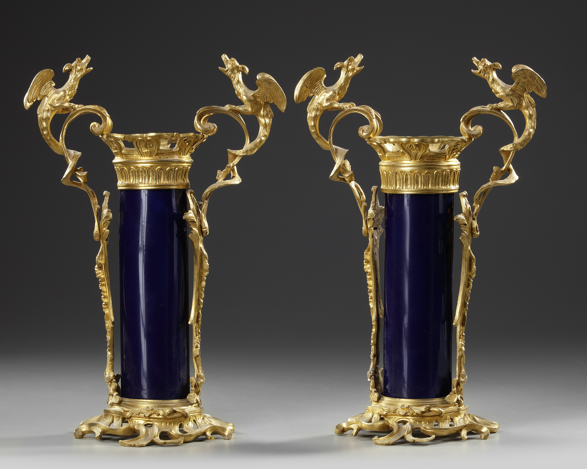 A PAIR OF FRENCH BLUE PORCELAIN VASES, 19TH CENTURY - Image 2 of 3