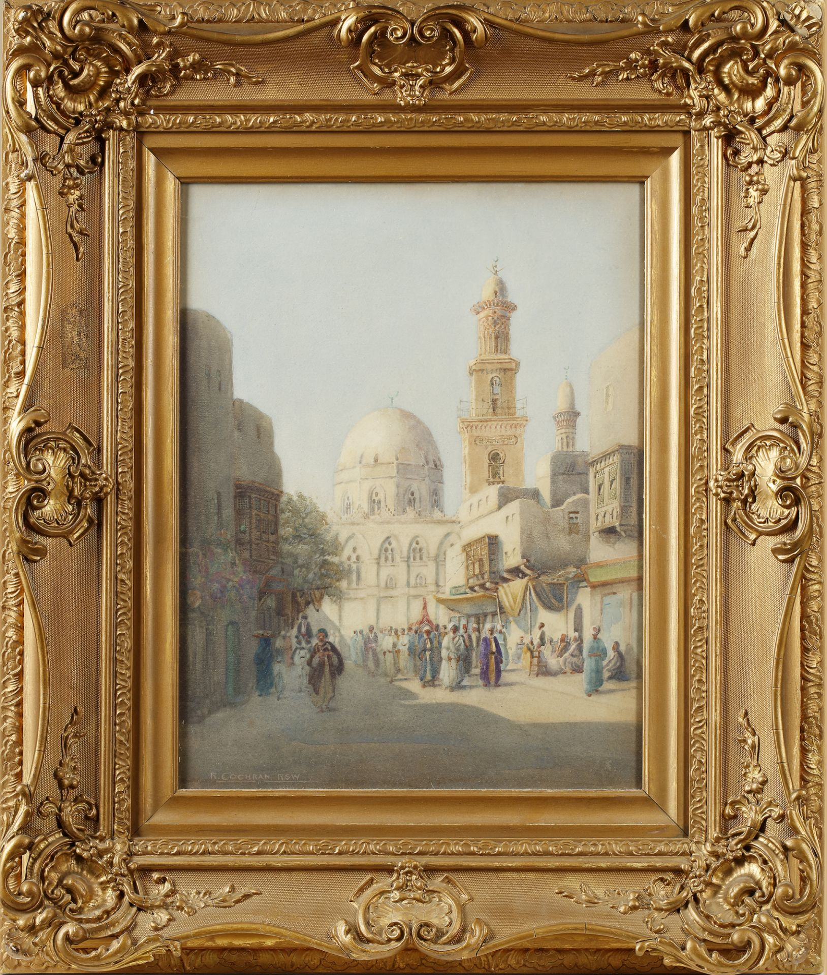 A PAINTING DEPICTING VARIOUS FIGURES NEAR THE MOSQUE IN CAIRO, 19TH-20TH CENTURY