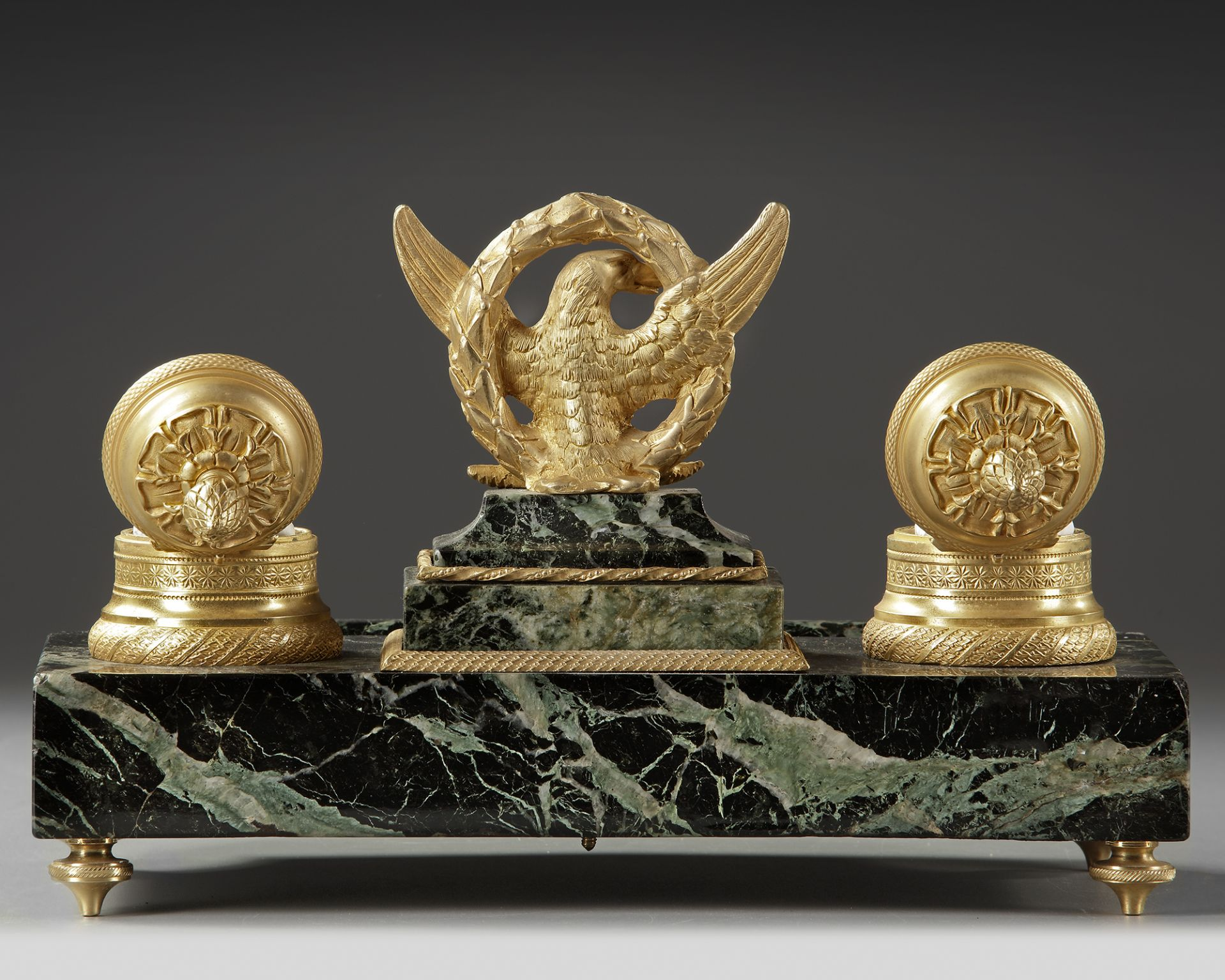 A FRENCH 'EMPIRE STYLE' INKWELL SET, LATE 19TH CENTURY - Image 2 of 3