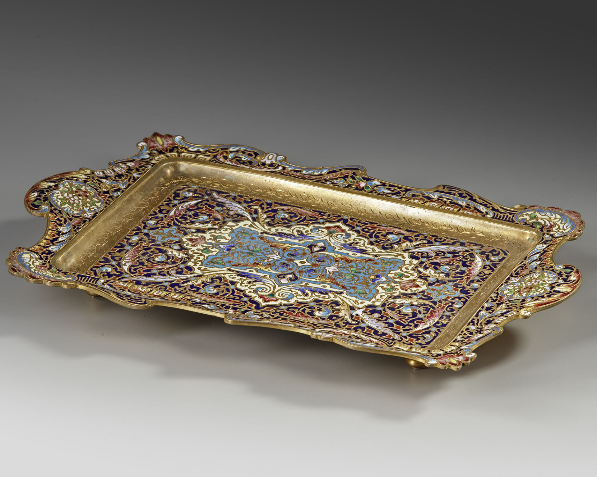 A FRENCH GILT ENAMEL ORMOLU CHAMPLEVÉ DRESSER STAND, 19TH CENTURY - Image 2 of 3