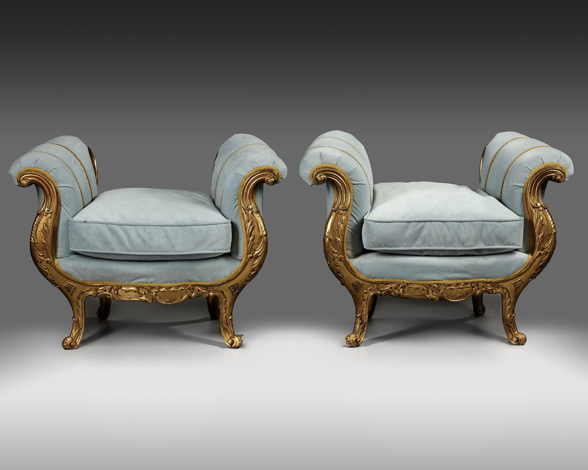 A PAIR OF FRENCH LOUIS XV STYLE GILT WOOD POUFS, LATE 19TH CENTURY - Image 3 of 5