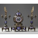 A CLOCK SET, 'VIOLET LE DUC' STYLE .CA 1870