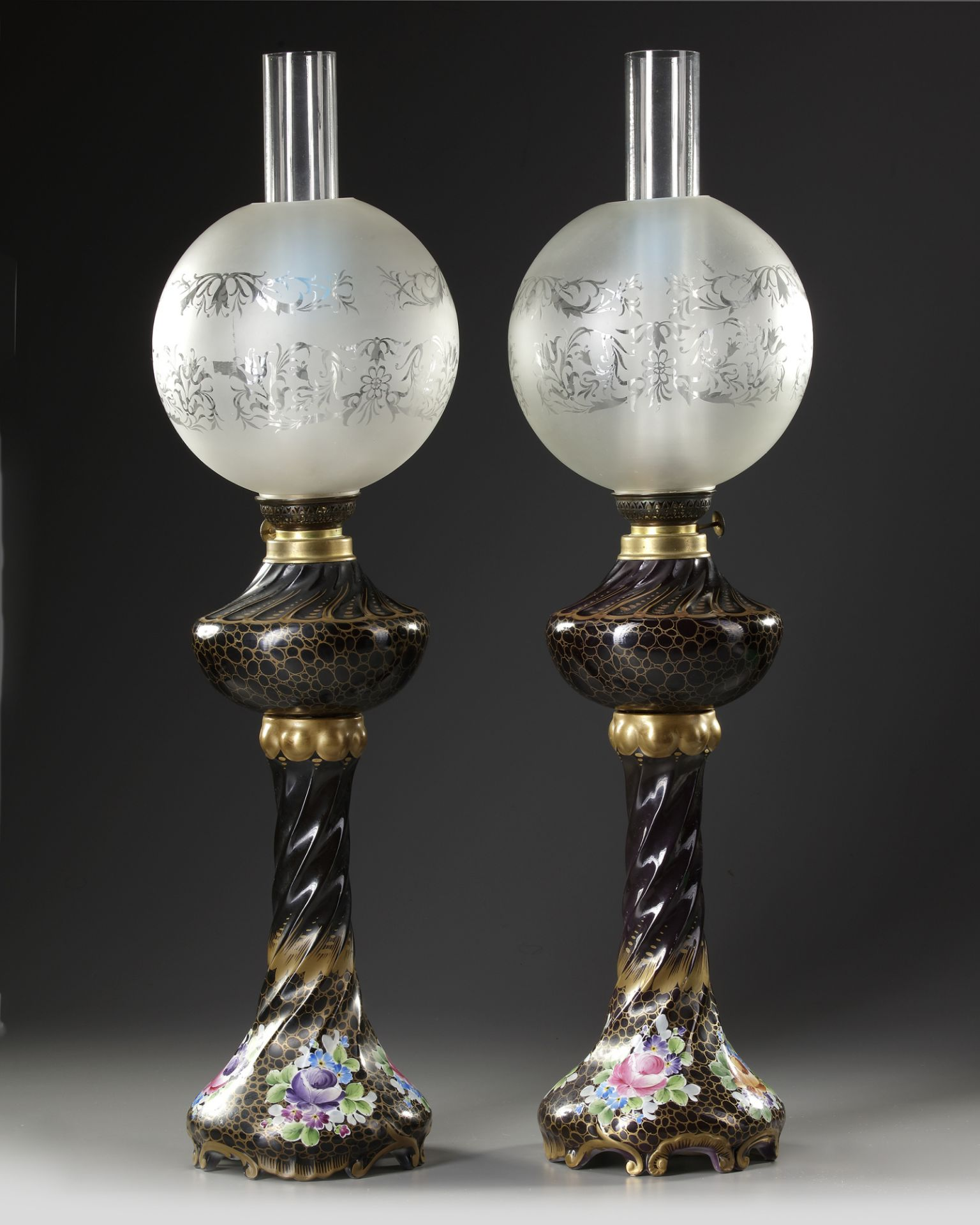 A PAIR OF FRENCH BLACK PORCELAIN LAMPS, LATE 19TH CENTURY