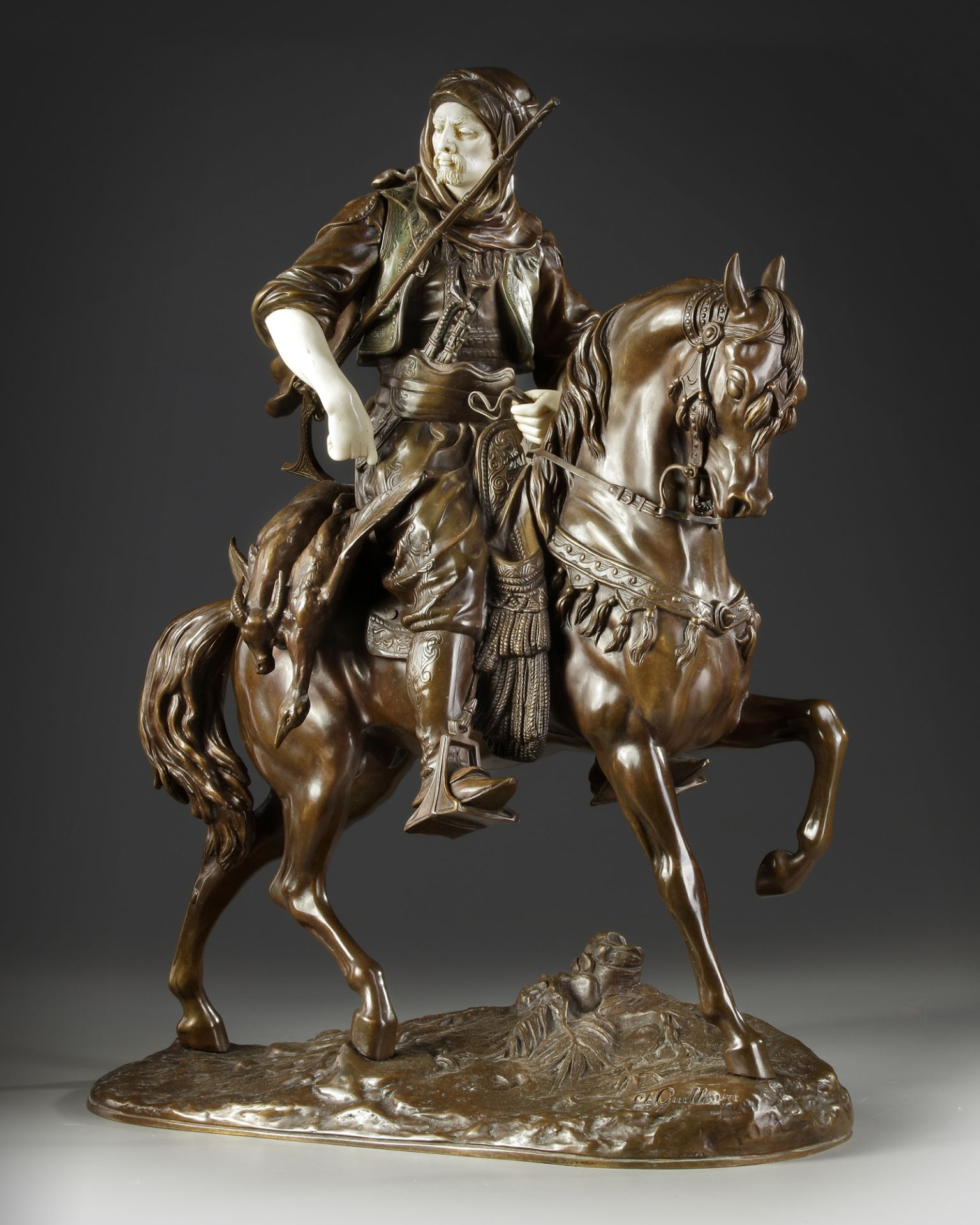 A SUPERB BRONZE SCULPTURE BY ALFRED BARYE AND EMILE GUILLEMIN, 19TH CENTURY - Image 2 of 7