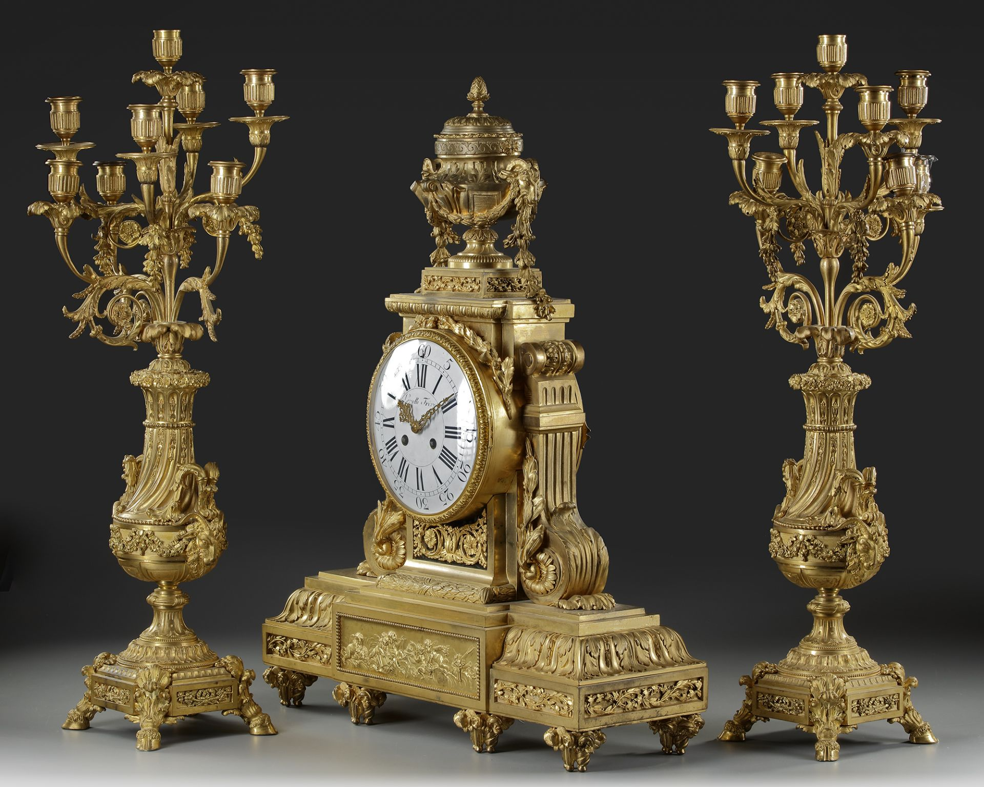 A FRENCH ORMOLU CLOCK SET, LATE 19TH CENTURY - Image 2 of 3