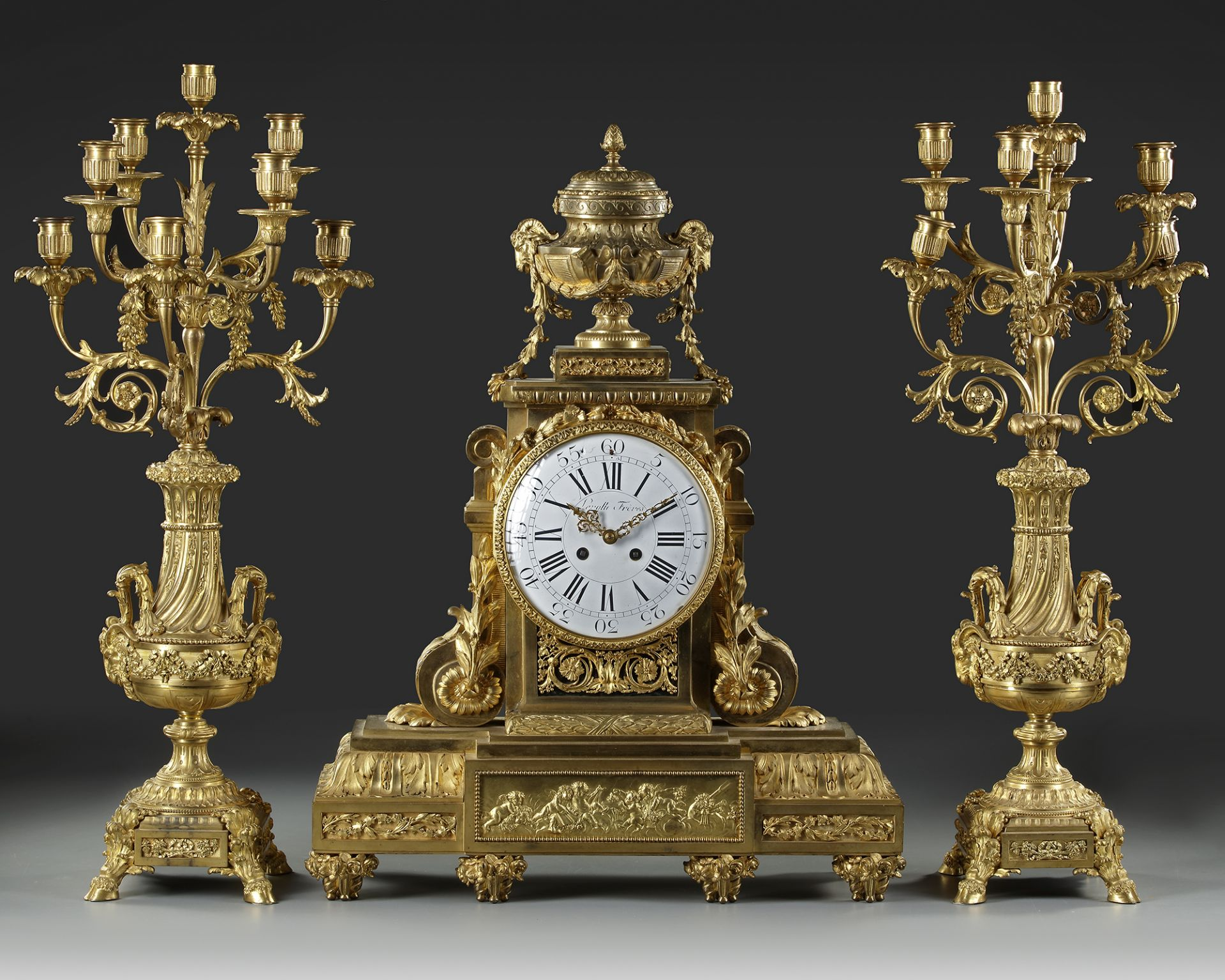 A FRENCH ORMOLU CLOCK SET, LATE 19TH CENTURY