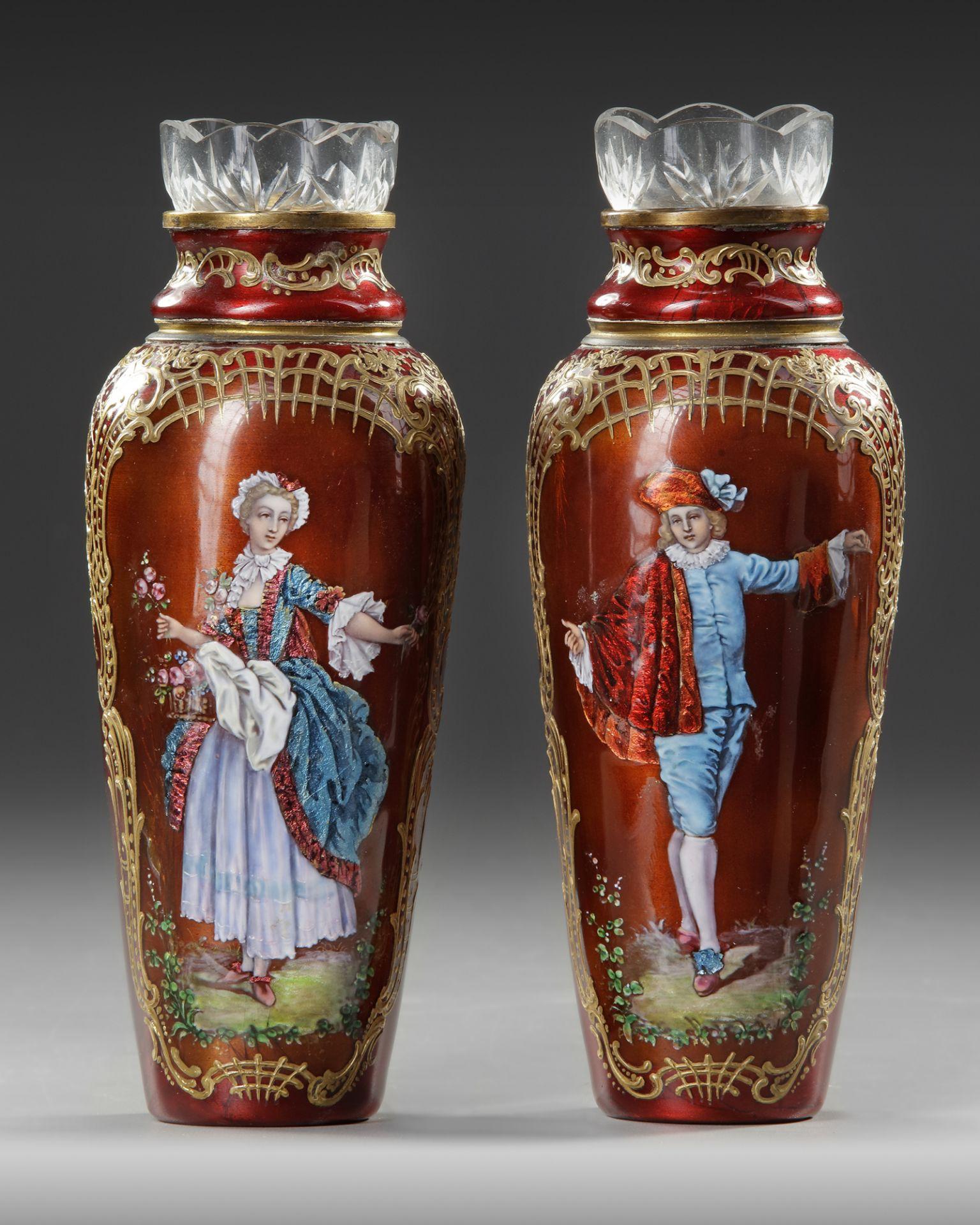 A PAIR OF RED ENAMEL VASES, AUSTRIA, 19TH CENTURY