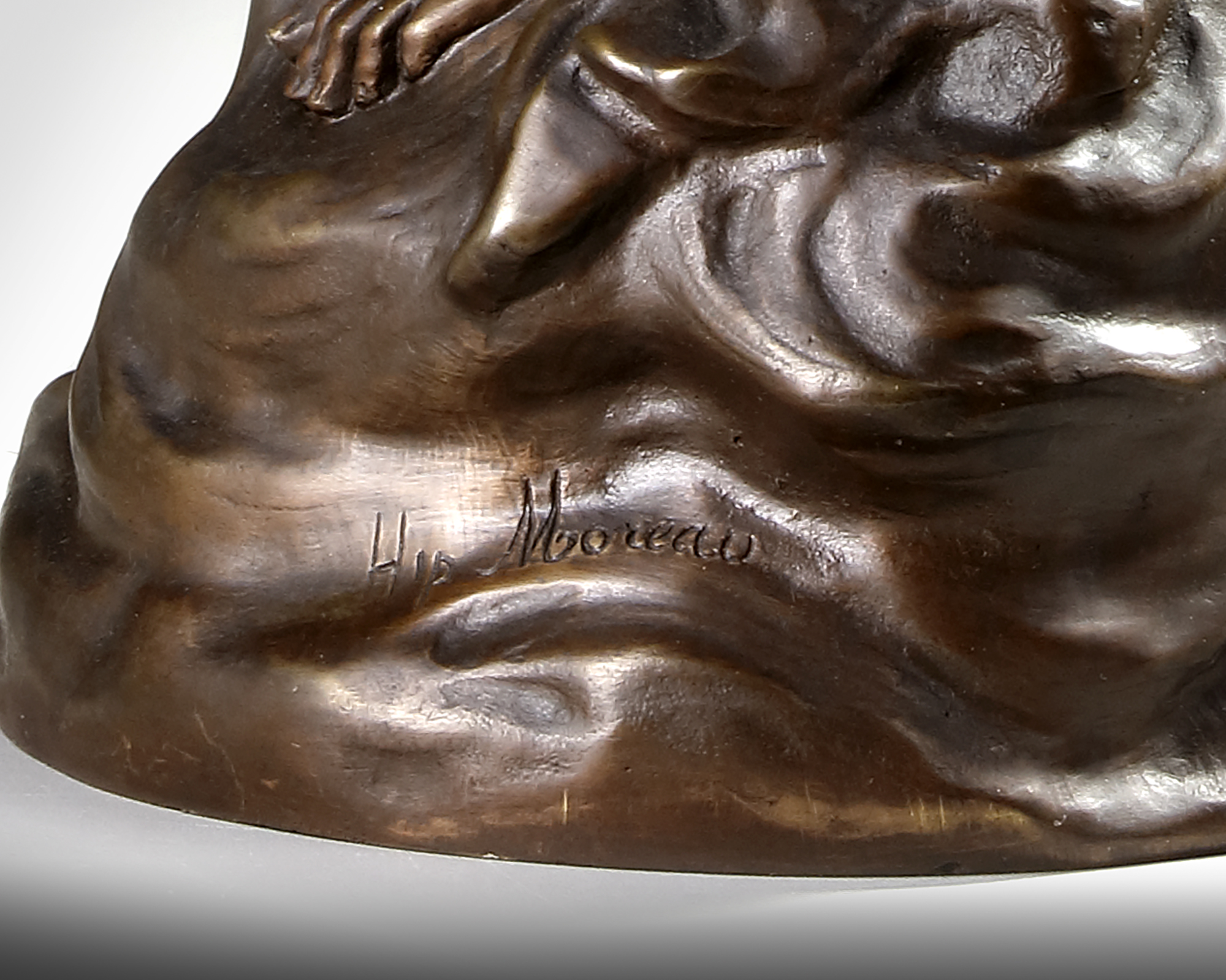 A FRENCH CLOCK SET, SIGNED HIPPOLYTE MOREAU - Image 9 of 11