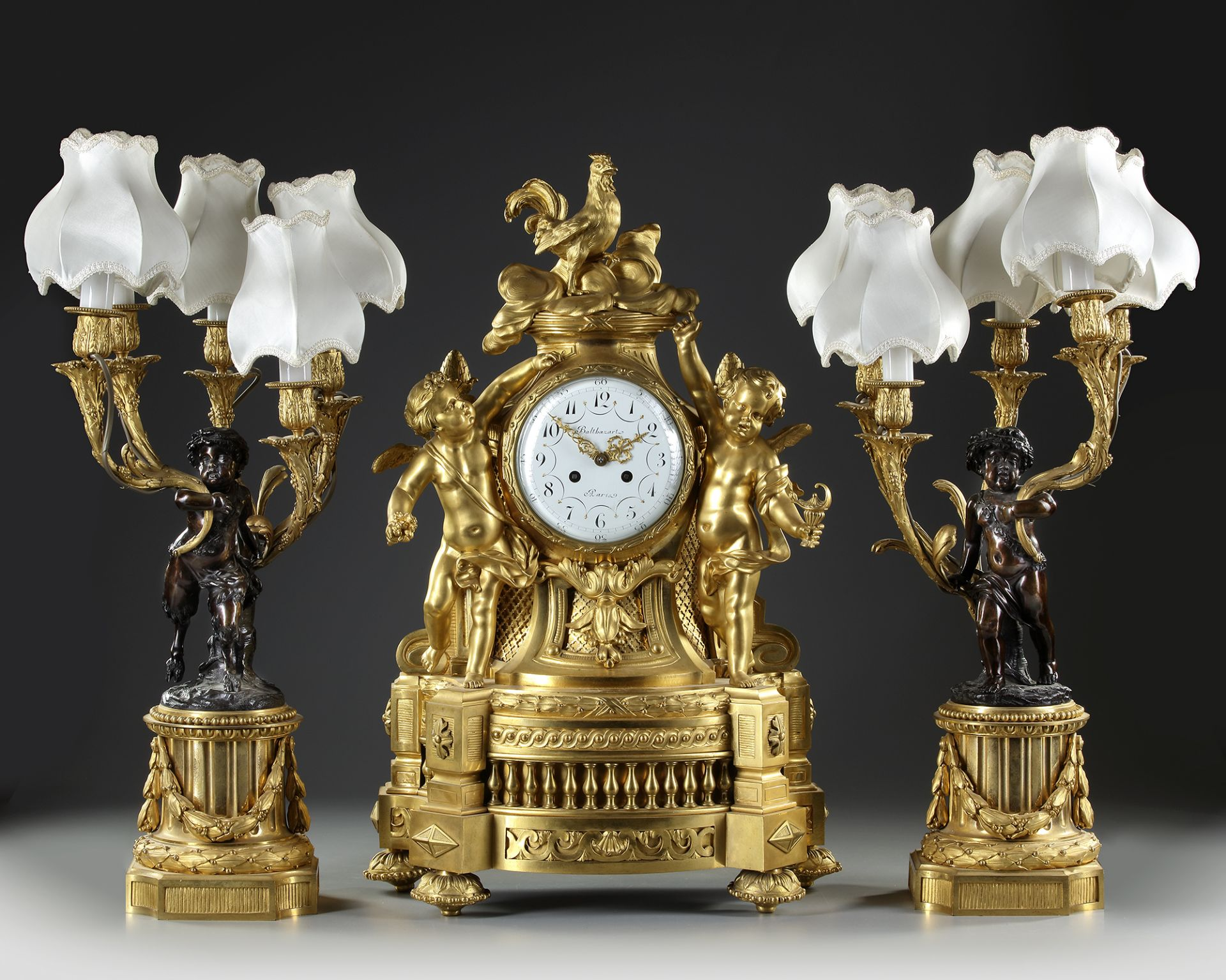 AN IMPORTANT GILT BRONZE CLOCK SET, FRANCE, 19TH CENTURY