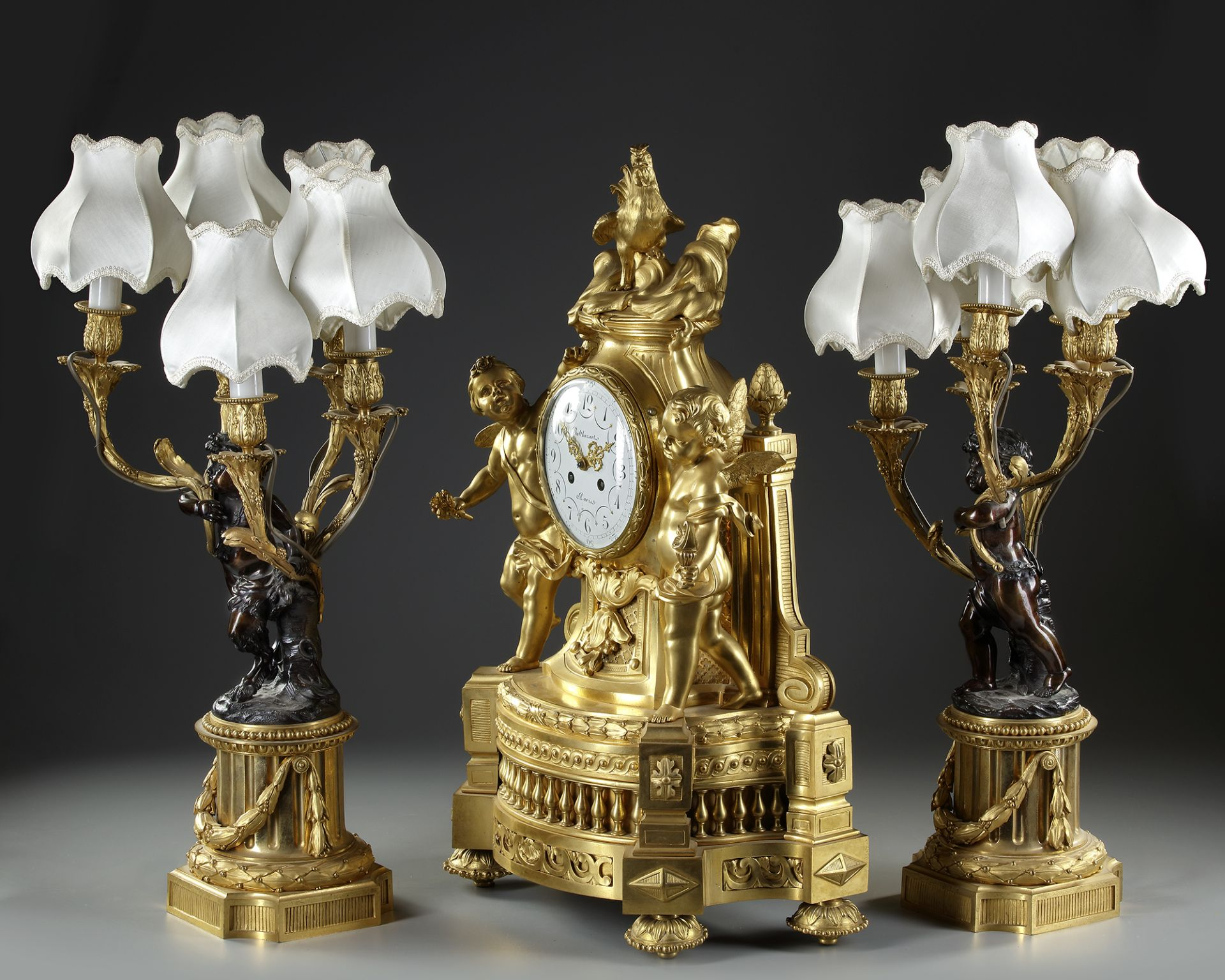 AN IMPORTANT GILT BRONZE CLOCK SET, FRANCE, 19TH CENTURY - Image 3 of 3