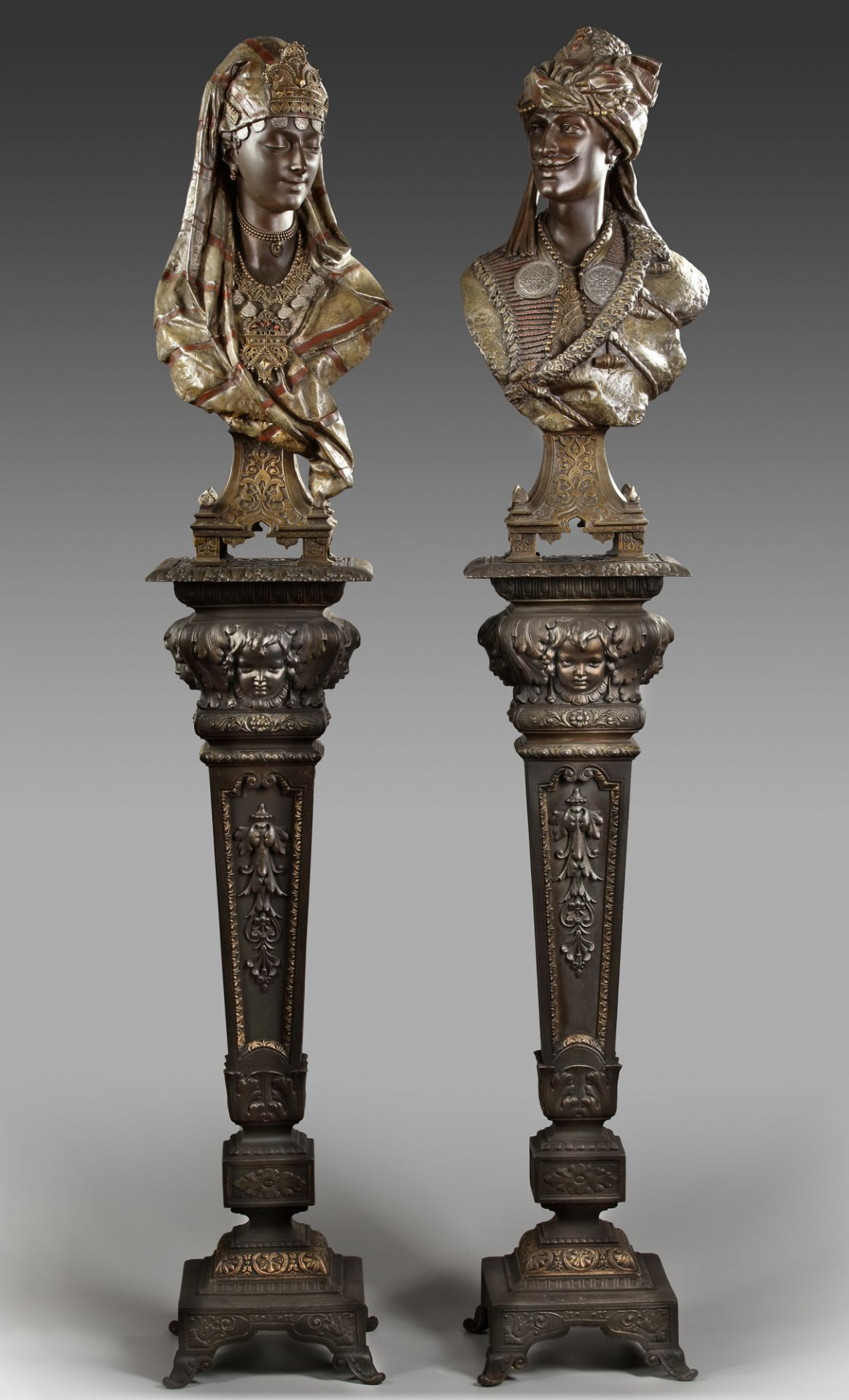 A PAIR OF BUSTS AFTER L. HOTTOT, LATE 19TH CENTURY