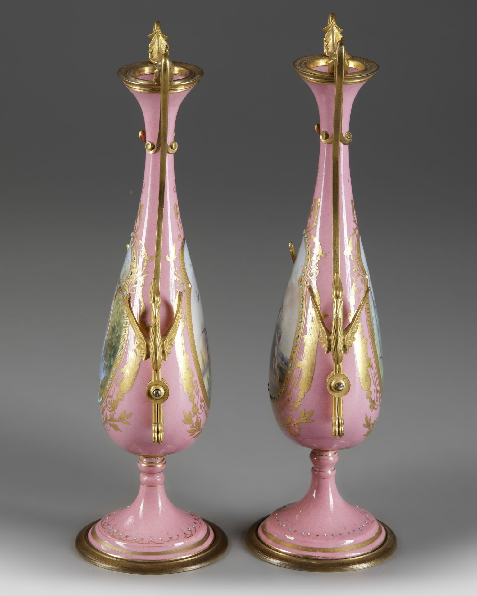 A PAIR OF FRENCH PINK SEVRES VASES, LATE 19TH CENTURY - Image 3 of 4